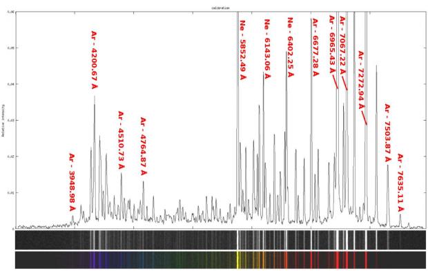 Figure 4 : spectre de la lampe d'étalonnage ArNe. (source : Shelyak)